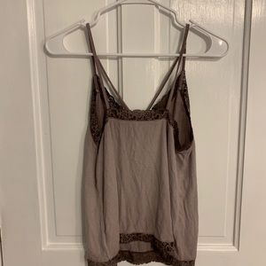 American Eagle Outfitters Tops - American Eagle Purple Tank Lace Ribbed Size Small